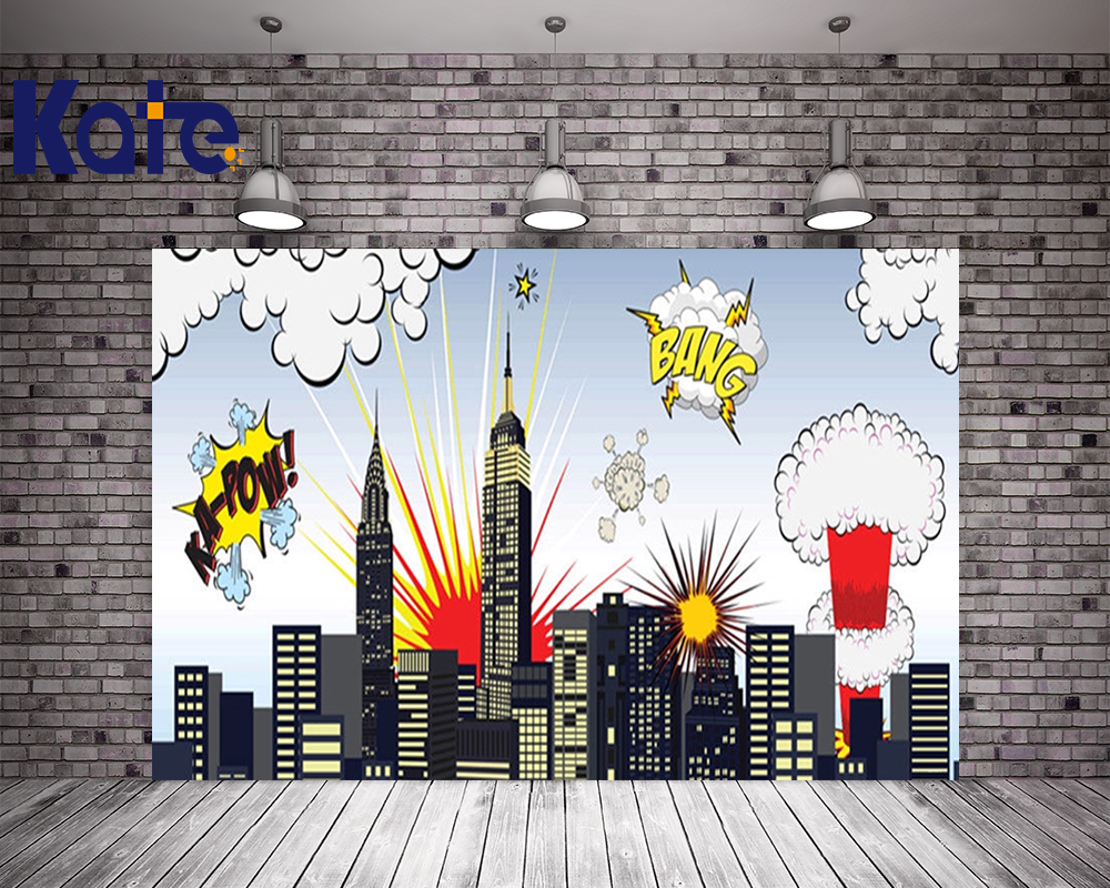 KATE 5x7ft Children Photography Backdrops Superhero Party Photo for Kids Colorful Cartoon City Building for Newborn Photo Shoot