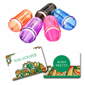 3pcs/set Clear Jelly Marshmallow Silicone Nail Art Stamper Colorful Handle Stamper & 2 Scraper
