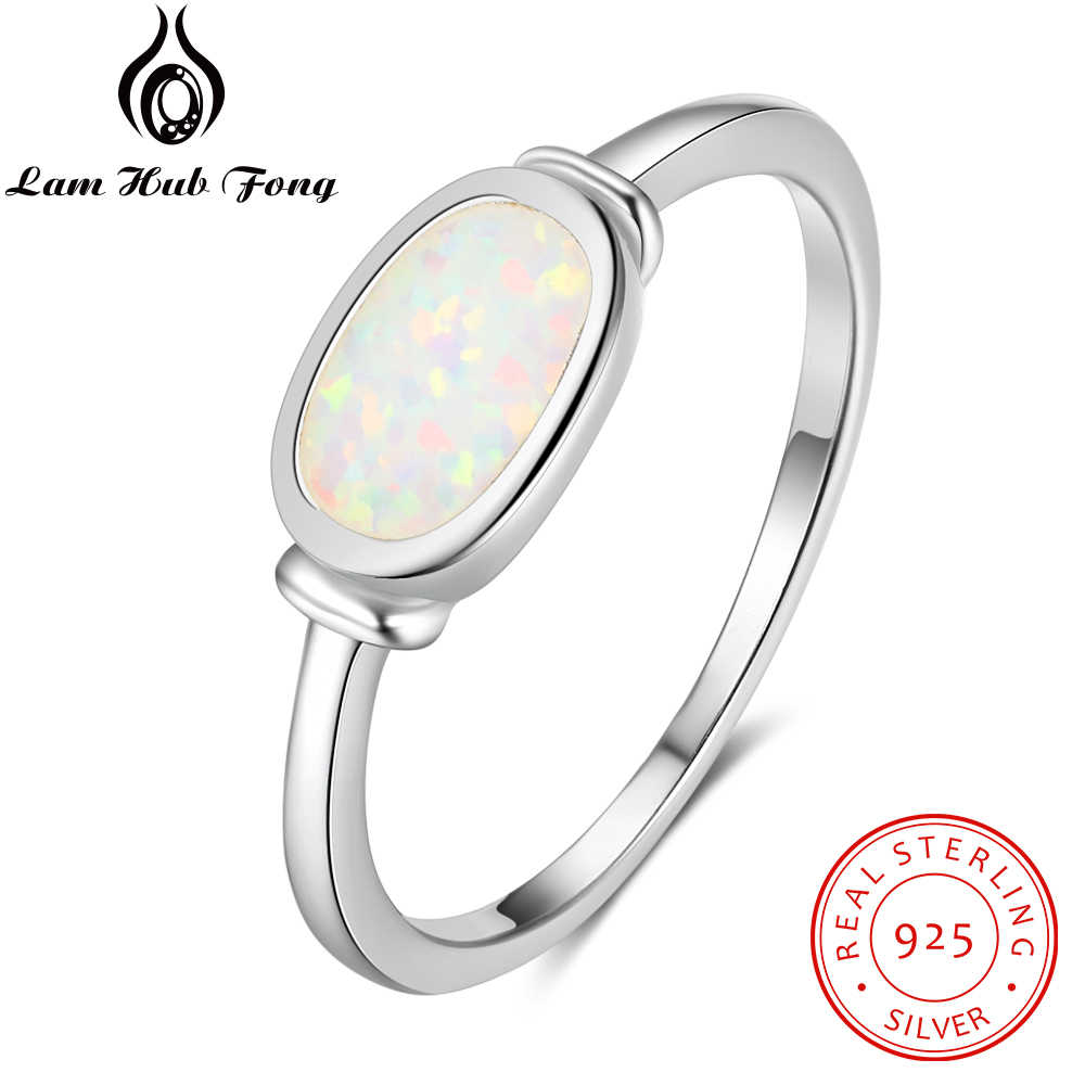 100% 925 Sterling Silver Ring Opal Stone With White Oval Opal For Women Romantic Mother's Day Gift(Lam Hub Fong)