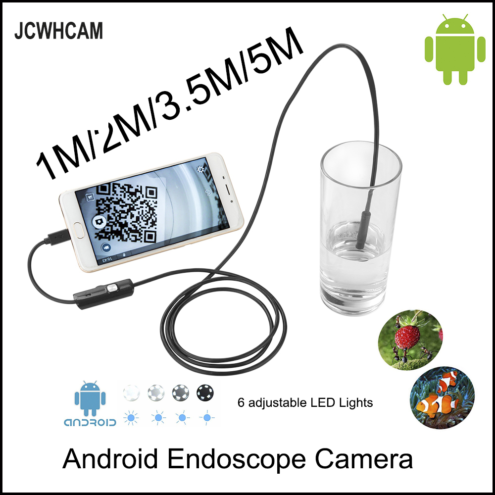 JCWHCAM HD 720P OTG Android  USB Endoscope Camera 8mm 5M 3.5M 2M 1M 10M Flexible Snake USB Pipe Inspection Borescope eyoyo nts200 endoscope inspection camera with 3 5 inch lcd monitor 8 2mm diameter 2 meters tube borescope zoom rotate flip