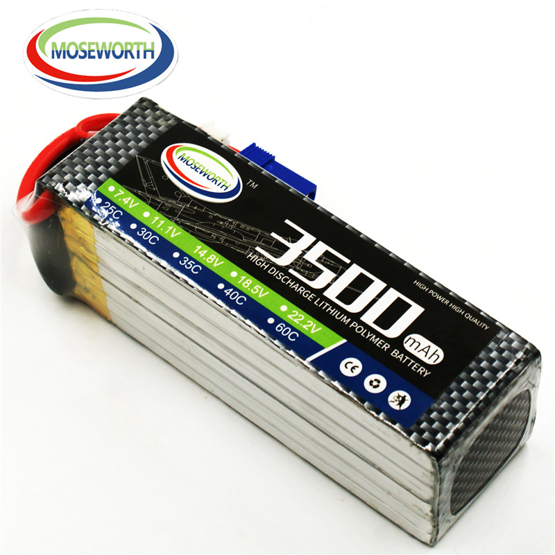 MOSEWORTH RC LiPo battery 6S 22.2V 3500mah 40C-80C for RC Airplane Quadrotor Car Tank Boat Li-ion batteria AKKU