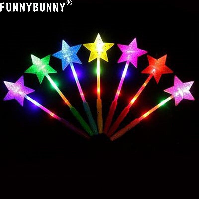 FUNNYBUNNY Pentagram Glowing Sticks LED Lighting Kids Toys Birthday Concert club Glow Party Supplies Color Random