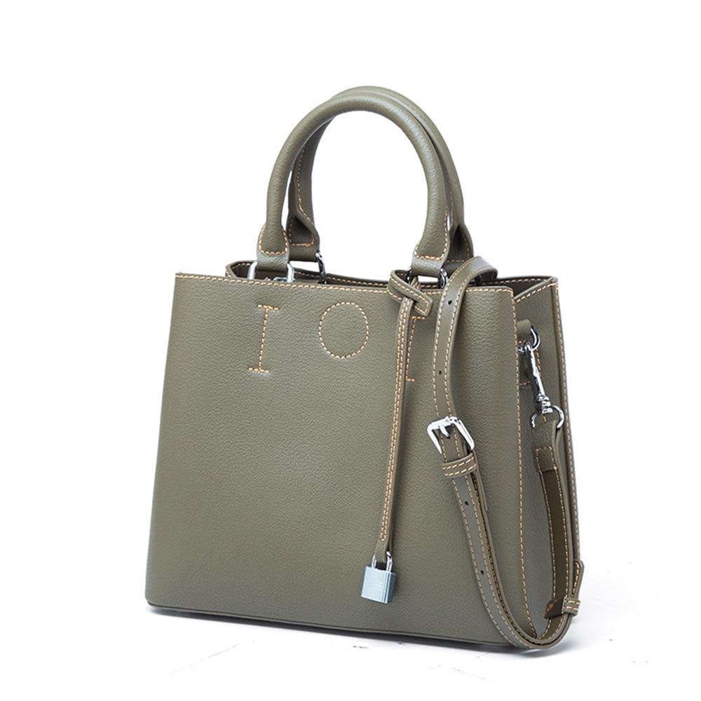 Women Split Leather Shoulder Bag Large Capacity Top Handle Bag Fashion Design Leather Handbag Causal Totes