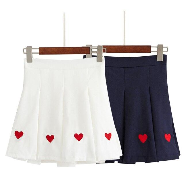 Harajuku mujeres corazón cariñoso bordado faldas 2018 verano estilo coreano  alta cintura estudiante bromista falda femenina 05ab8bfe9623
