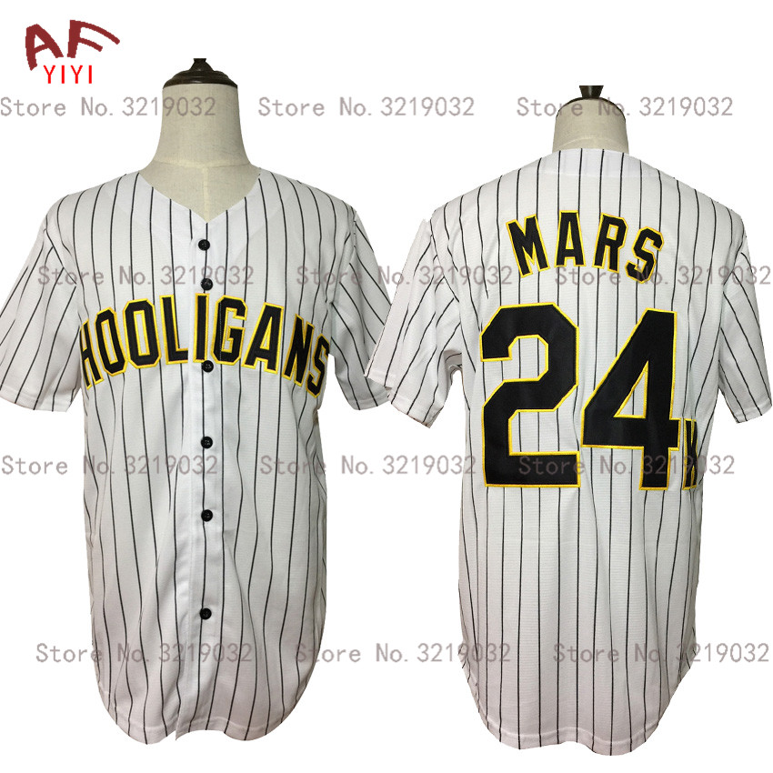 2019 New Cheap Hooligans 24K Baseball Jersey White Color Stripe Button Stitched Mens Shirt Free Shipping2019 New Cheap Hooligans 24K Baseball Jersey White Color Stripe Button Stitched Mens Shirt Free Shipping