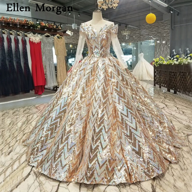 b09929303a US $499.5 10% OFF Pattern Sequined Fabric Ball Gowns Wedding Dresses Real  Photos Puffy Elegant Long Sleeves Floor Length Bridal Gowns 2018-in Wedding  ...