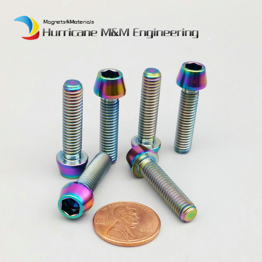 1Pack Ti Bolt M5 x25mm Titanium Bolts 4 Stem Handle Bar Ti Multiple Gold Color Cone Tapered Hexagon Socket Ti Screws Ti Fastener ti 1000