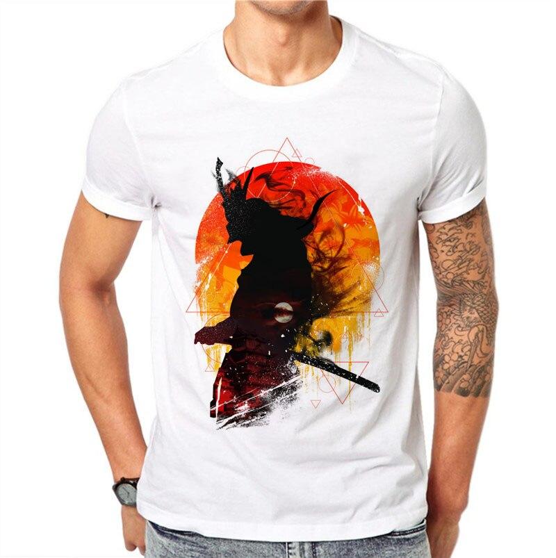 100% Cotton Harajuku Fashion Men Casual T Shirt Printed Japanese Warrior Tops Cool Shirt Shirts Soft White Tops Summer Tee