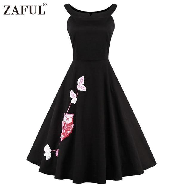 ZAFUL Марка Плюс Размер Женщины Dress Винтаж халат рокабилли 50 s Черный Вышивка Рукавов Качели Бальные Платья Feminino Vestidos