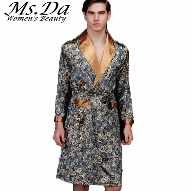 2016 Summer Faux Silk Satin Bath Robe Casual Nightgown Vintage Printed Long Bathrobe Homme Men Pijama Sleepwear Robes