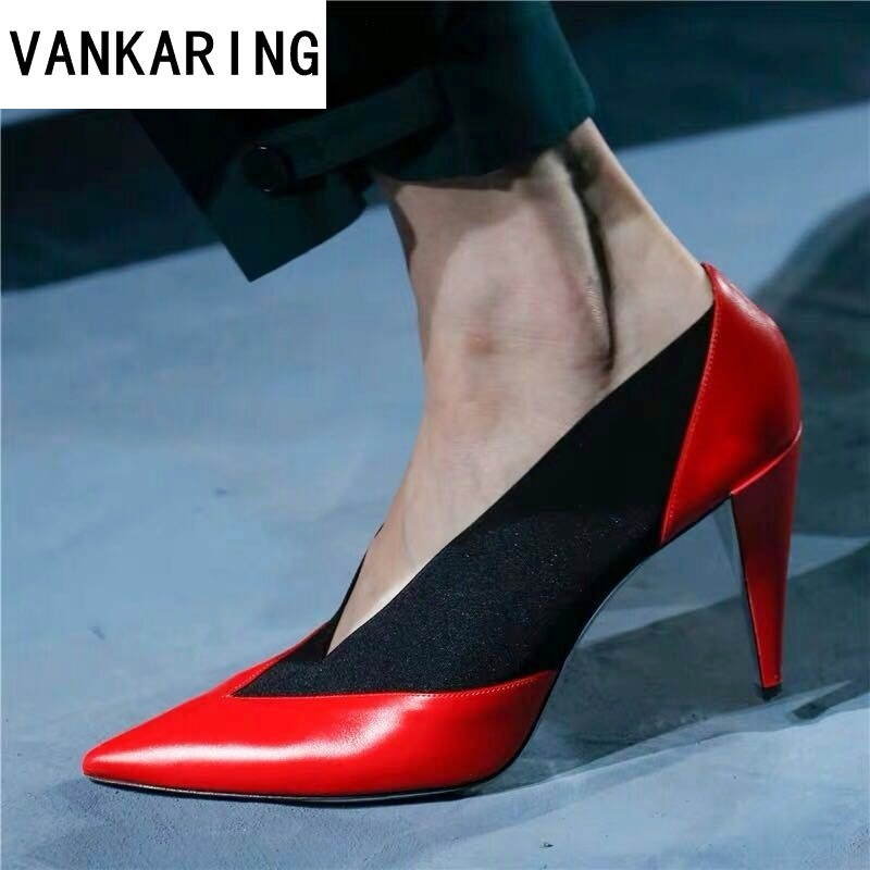 brand women pumps OL fashion spell color high heels single shoes female spring summer genuine leather