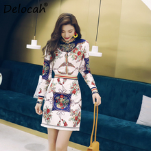 Delocah Women Spring Summer Set Runway Fashion Designer Long Sleeve Simple Ruched Shirt+Flower Printed Short Skirt Two Piece