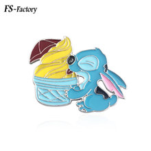 Lilo And Stitch Enamel Pins Brooch Cute Eat Ice Cream Badge Brooches for Women Men Kids Christmas Gift Jewelry