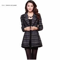 New Fashion Brand Spring Autumn Striped Small Fragrant Woolen Coat Female Aristocratic Temperament Long Jacket Outwear