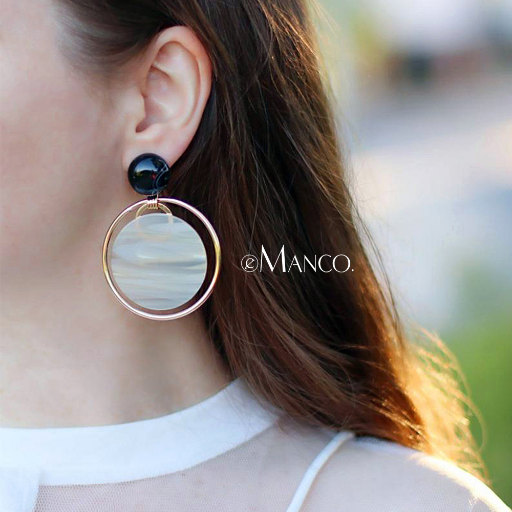 eManco Resin Beads Making Drop Earrings for Women Wedding Party Occasion Round Circle Plank Earrings Brand 2018 Fashion Jewelry new luxury brand fine exquisite sunshine full of small earrings for women circle wedding party earrings fashion jewelry