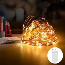 Домашнее освещение струны CR2032 на батарейках светодиодный медный провод 5 м 2 м Рождественские огни luces светодиодный декоративный светильник