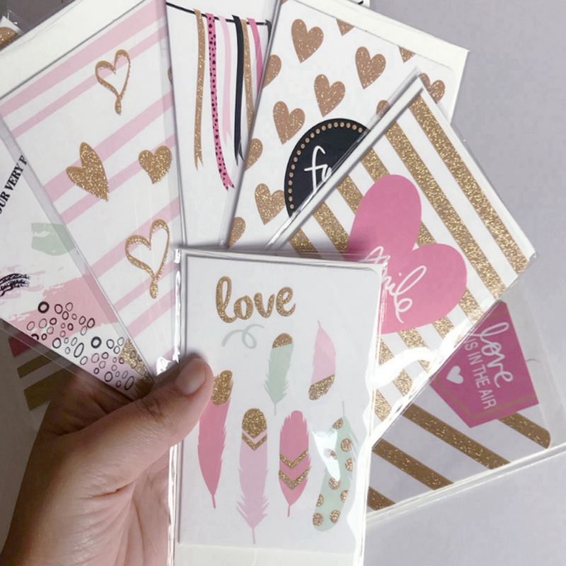 10 Pcs/pack Lovely New Year Merry Christmas Cards Bronzing Greeting Card Postcard Birthday Letter Envelope Gift Card
