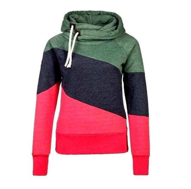 Women 39 s pullover coat Slim hit color stitching Hooded jacket hedging coat women clothing in Hoodies amp Sweatshirts from Women 39 s Clothing