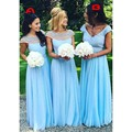 Charming A Line Scoop Neck Short Sleeve Blue Chiffon Perals Beaded Sexy Elegant Beaded Prom Bridesmaid Dresses  Lace Gowns