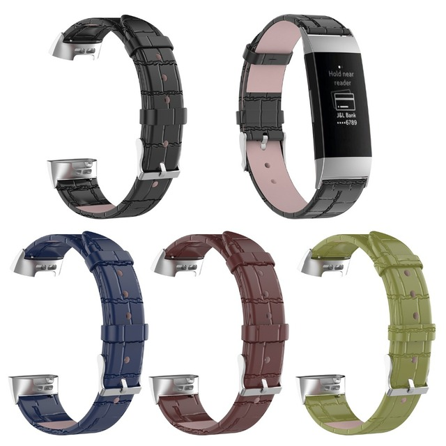 c619117fe Odog Black Leather Wristband With Metal Connectors Charge 3 Fitness Watch  Strap for Fitbit Charge 3