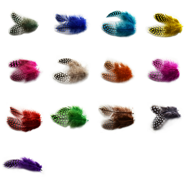 24pcs Guinea Fowl Spotted Feather Craft Chicken Feather Beautiful Gull Hair Extension Feathers for Home Decor Length 5-10cm IF54