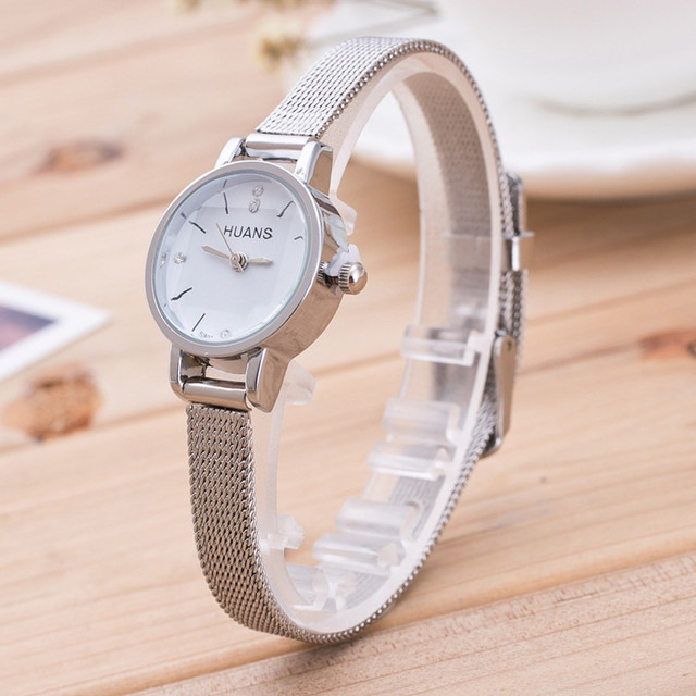 Fashion Women Ladies Silver Stainless Steel Mesh Band Wrist Watch Crystal Stainless Steel wrist watches for women