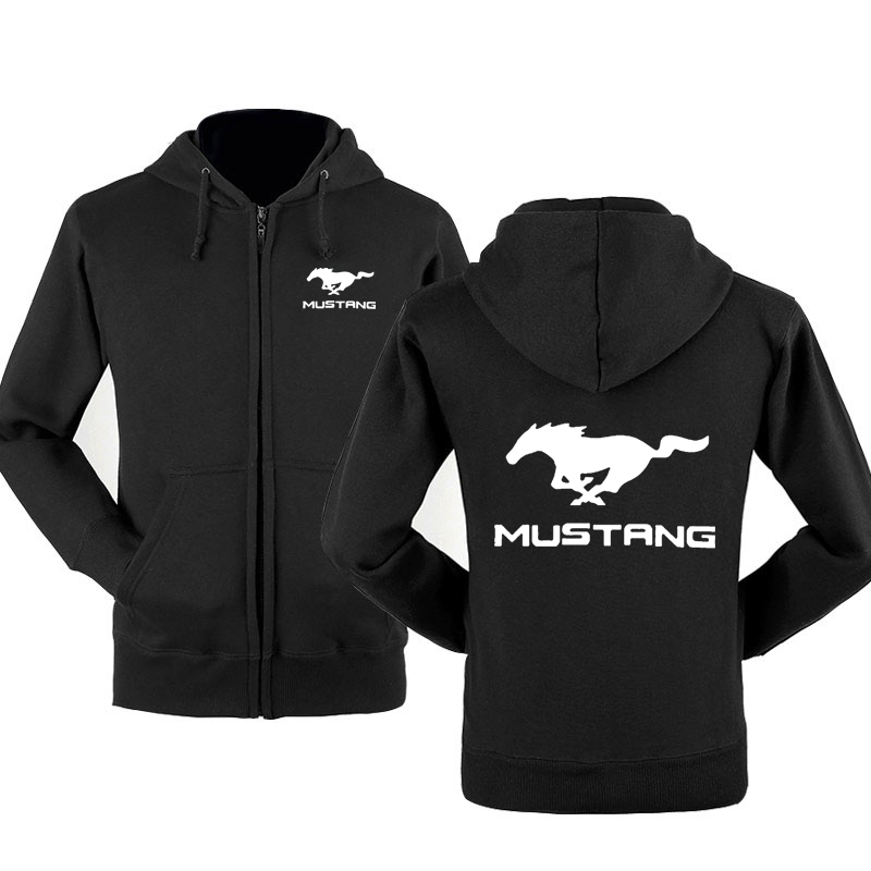 Fashion Mustang Car Logo Sweatshirt Hoodies Men Hoody Spring Autumn Fleece Cotton Zipper Jacket HipHop Harajuku Male Clothing