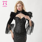 Black Velvet & Feathers Stand Collar Lace Flare Sleeve Gothic Victorian Jacket Women Sexy Corset Set Vintage Steampunk Clothing
