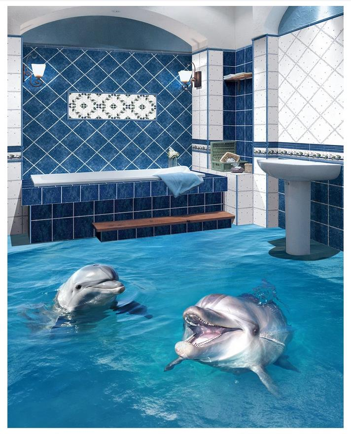 3d floor murals custom photo wallpaper mural Dolphin Bathing Bathroom Floor stickers self-adhesive 3d floor wallpaper decoration