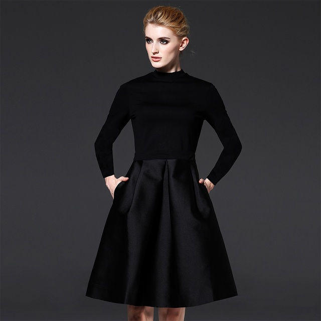 7bd7656632f19 Women Classic Dress Holiday Party Gowns Black Color Fit and Flare Dresses  Elegant Ladies Clothes with Full Sleeve ssd033