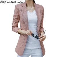 May Leaves Love Korean Style 2017 Long Sleeve Cotton Linen Single Button Suit Women Blazer Female