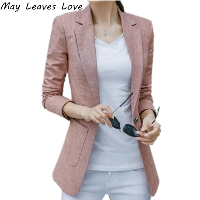 May Leaves Love Korean Style 2018 Long Sleeve Cotton Linen Single Button Suit Women Blazer Female