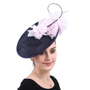 Image 4 - Vintage beige wedding headwear church Big Fascinators party hats women kentucky derby accessories bridal ladies days headpiece