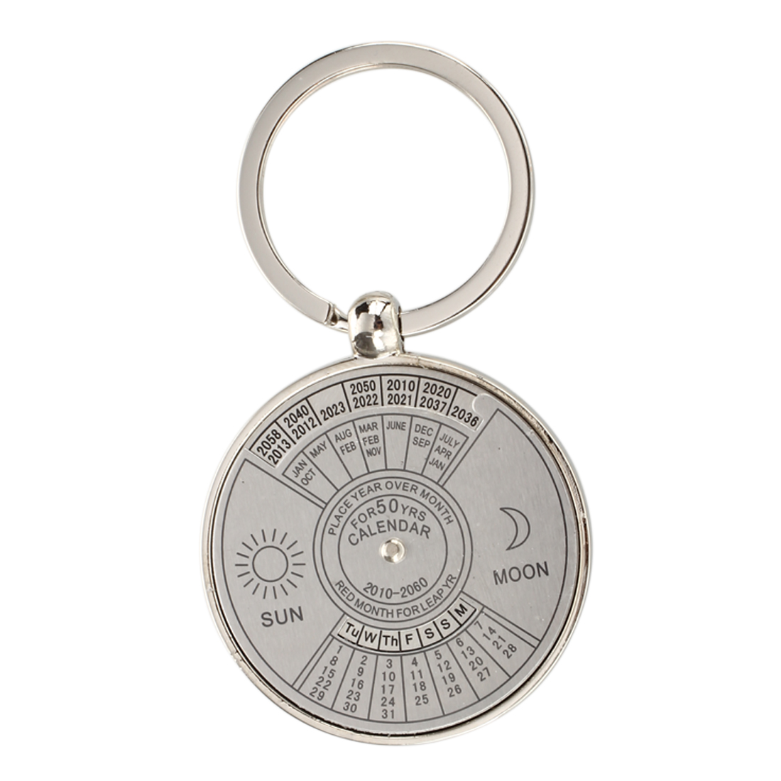 5pack Keychain key ring metal Perpetual Calendar pattern 50 years perpetual calendar keyring keychain silver alloy key ring keyfob decoration 8ou9