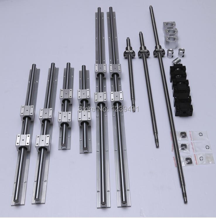 6 sets linear guide rail SBR16 - 300/700/1100mm + SFU1605 - 350/750/1150mm ballscrew set + BK/BK12 + Nut housing Coupler CNC par