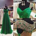 Emerald Green Crystal Prom Dresses Cap Sleeves Chiffon Long Sheer Back Vestidos De Fiesta 2016 Winter Formal Gowns Real Photo