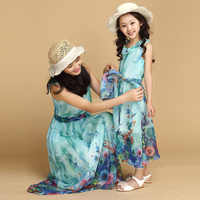 Summer children girls Party prom dress Bohemian style kids girl 4...14 years clothes Elegant chiffon princess beach dresses