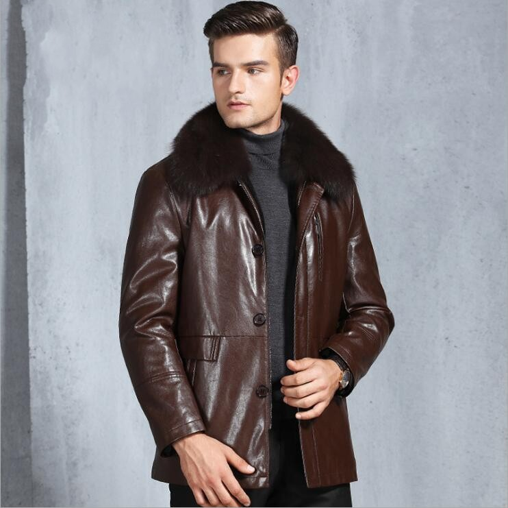 High Quality Winter New Mens Rabbit Fur Collar Zipper Fur Coats Male Fashion Warm Thick Velvet Clothes Leather Jacket Men M-3XL