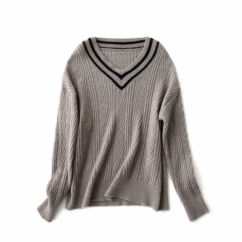 Smpevrg セクシーなビッグ v ネックニットセーター女性セーターやプルオーバー女性プルオーバー女性ニットトップジャンパーソフト