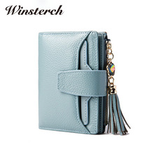 2017 Fashion Genuine Leather Wallet Women Diamonds tassel short purse With Coin Pocket Female Zipper Card