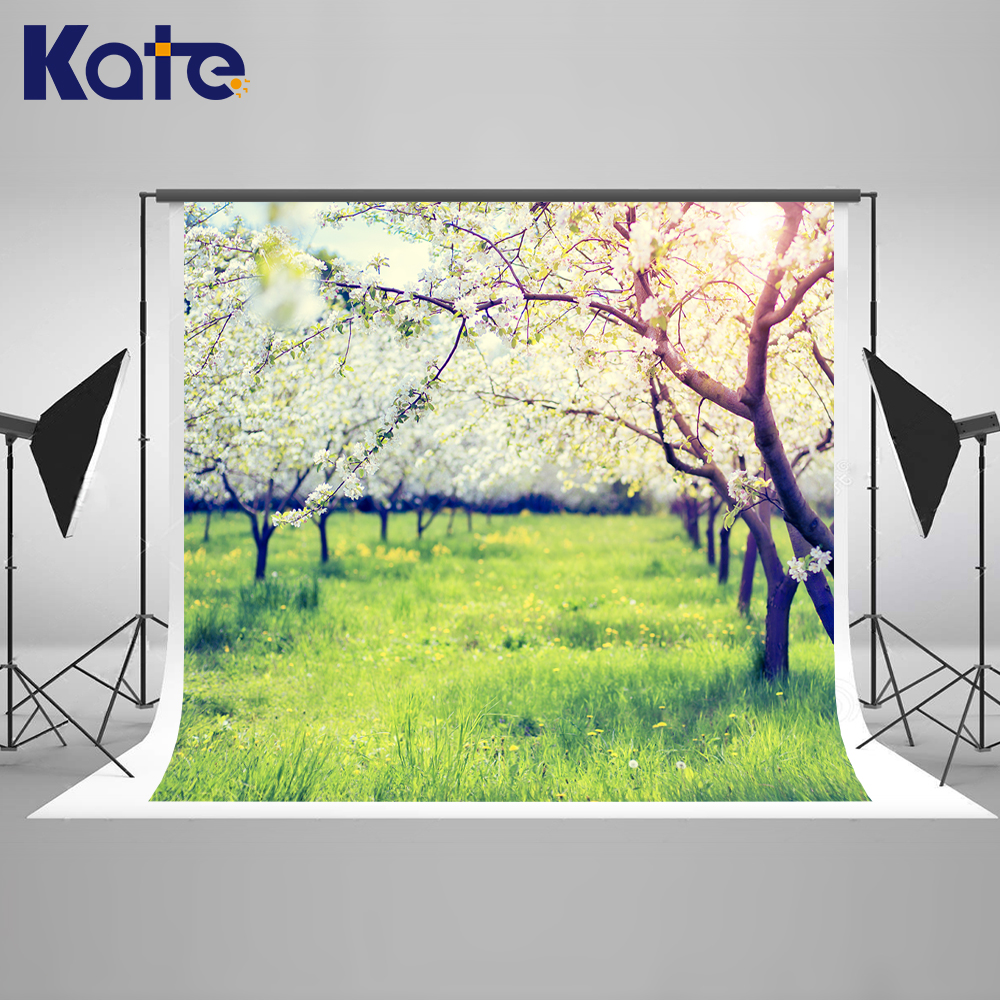 ФОТО Kate Spring Forest Photography Backdrops Wedding Photography Backdrops Green Lawn Background Large Size Seamless Photo