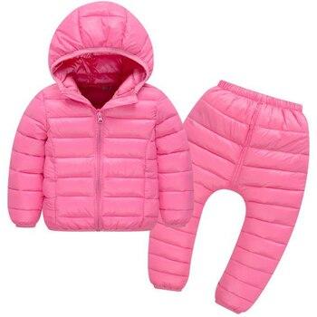 子供セットボーイズガールズ服セット冬フード付きダウンジャケットパンツ防水厚く暖かい Tracksuts 子供服トラックスーツ