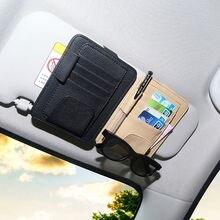 Pala de Sol do carro Pen Óculos Titular Armazenamento Organizer Bag Bolsa Cartão de Bolso Acessórios Interiores Do Carro Estiva Tidying couro PU