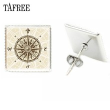 TAFREE Square Stud Earrings Charming Fashion Men Women Ear Studs Earrings Glass Dome Art Badge Jewelry Accessories CP53(China)