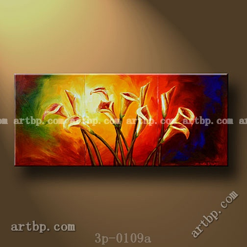Calla lilies oil painting on canvas dining room wall decor for Dining room wall art canvas