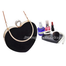 Designer Brand Black Suede Heart Shape Bag Evening Party Clutch Wedding Purse Wristlet Celebrity Love