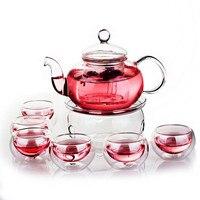 1 Set Gaiwan Tea Set Con 6 Tazze A Doppia Parete 600 ml Vetro resistente al calore Teiera Drinkware Set 2017 nuovi arrivi di vetro tè set
