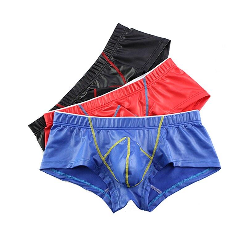 PU Faux Leather Underpants Men Plus Size Boxer Mens Trunks U Convex Penis Pouch Boxers Black Sexy Bulge Shorts Male Underwear