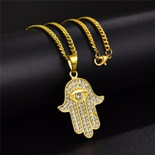 free chain mens jewelry hip hop bling micro pave cubic zirconia hamsa hand iced out cool necklace