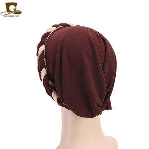 Image 5 - 여성 브레이드 모자 이슬람기도 터번 모자 이슬람 터번 포함 모자 여성 더블 컬러 히 자브 브레이드 캡 헤어 액세서리